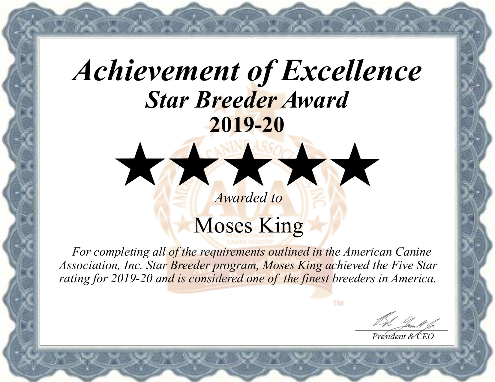 moses, king, dog, breeder, certificate, moses-king, dog-breeder, christiana, pa, pennsylvania, dogbreeder, kennel, reviews, customer, star, starbreeder, 5, five, USDA, puppy, puppies, ACA, inspection, inspections, reports, mill, puppymill, mills